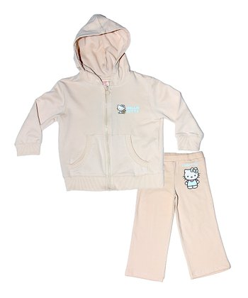 Cream Hello Kitty Organic Hoodie & Pants - Toddler