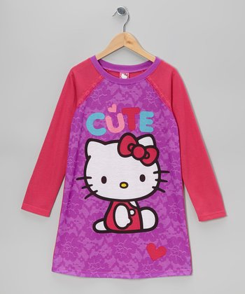Purple & Fuchsia Hello Kitty Nightgown - Girls