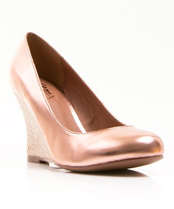 Rose Gold Patent Jinger Wedge