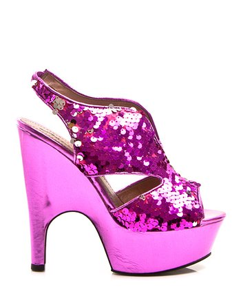 Fuchsia Tiny Dancer-03 Sequin Platform Shoe