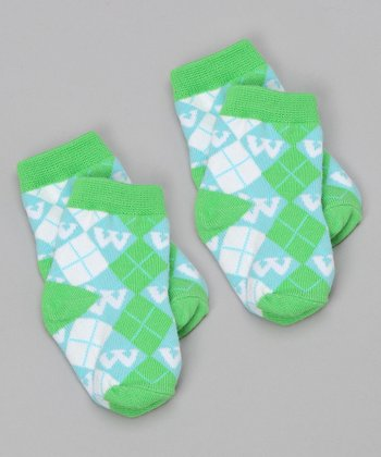 Blue & Green 'W' Socks Set
