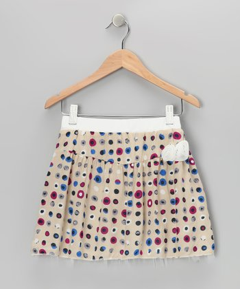 Cream & Burgundy Polka Dot Skirt - Girls