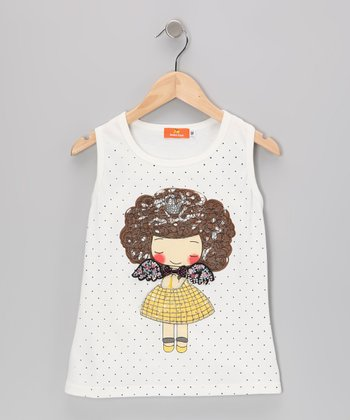 White Polka Dot Angel Girl Tank - Girls