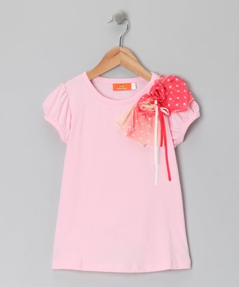 Pink & Red Bow Top - Toddler & Girls