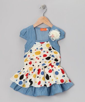Blue Polka Dot Shrug Dress - Girls