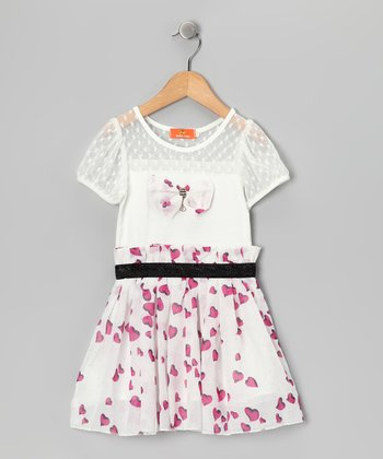 White & Pink Bow Dress - Girls