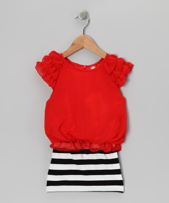 Red & Blue Stripe Dress - Toddler & Girls