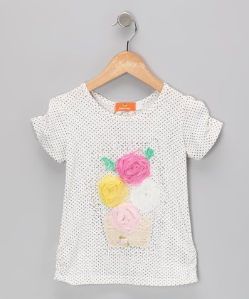 White Flower Basket Top - Toddler & Girls