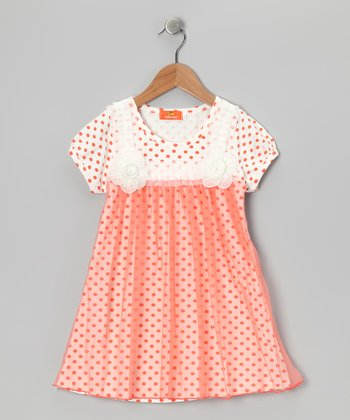 Orange Polka Dot Babydoll Dress - Girls