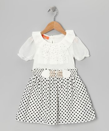 Black & White Polka Dot Dress - Girls
