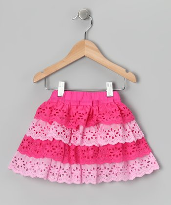 Pink & Light Pink Lace Tier Ruffle Skirt - Toddler