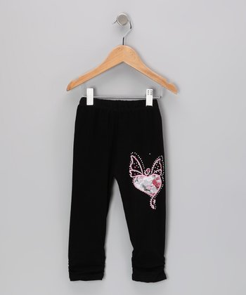 Black Rhinestone Butterfly Leggings - Girls