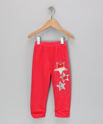 Red Rhinestone Star Leggings - Girls