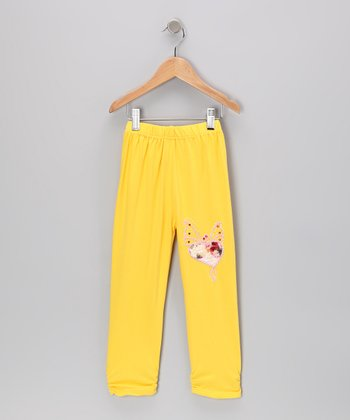 Yellow Rhinestone Butterfly Leggings - Girls