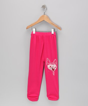 Rose Rhinestone Butterfly Leggings - Girls