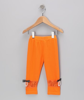 Orange Bow Leggings - Toddler & Girls