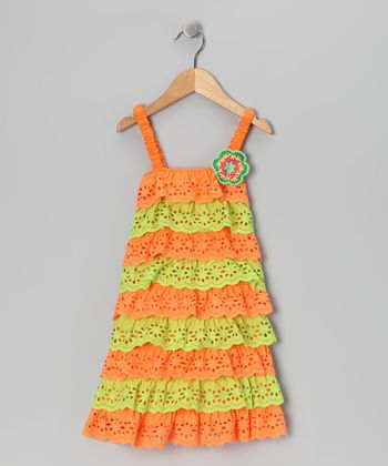 Green & Orange Lace Tiered Ruffle Dress - Toddler & Girls