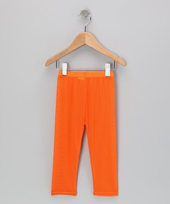 Orange Mesh Leggings - Toddler & Girls