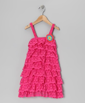Pink Lace Tiered Ruffle Dress - Toddler & Girls