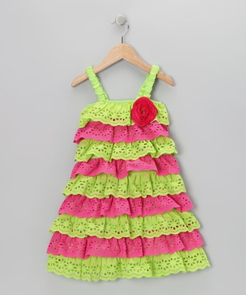 Green & Pink Lace Tiered Ruffle Dress - Toddler