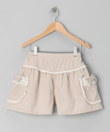 Tan Lace Shorts - Girls