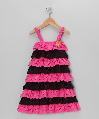 Black & Pink Lace Tiered Ruffle Dress - Toddler