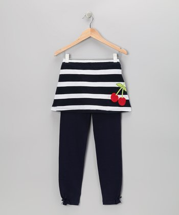 Navy Cherry Skirted Leggings - Toddler & Girls