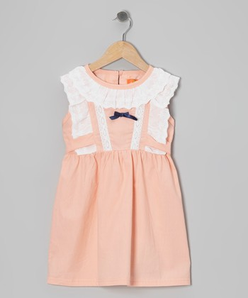 Pink Eyelet Lace Dress - Girls