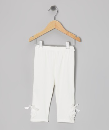White Bow Leggings - Toddler & Girls
