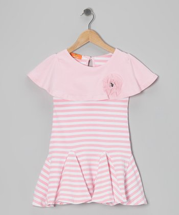 Pink Stripe Ruffle-Collar Dress - Girls