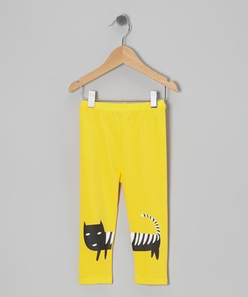 Yellow Cat Leggings - Toddler & Girls