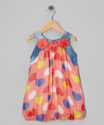 Pink & Blue Heart Bubble Yoke Dress - Toddler & Girls