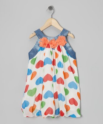 White & Blue Heart Bubble Yoke Dress - Toddler & Girls