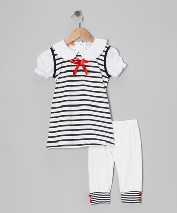 Navy & White Stripe Tunic & Leggings - Infant, Toddler & Girls