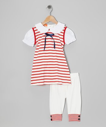 Red & White Stripe Tunic & Leggings - Infant, Toddler & Girls