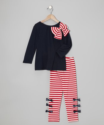 Navy Bow Top & Red Stripe Leggings - Toddler & Girls