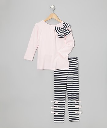 Pink Bow Top & Black Stripe Leggings - Girls