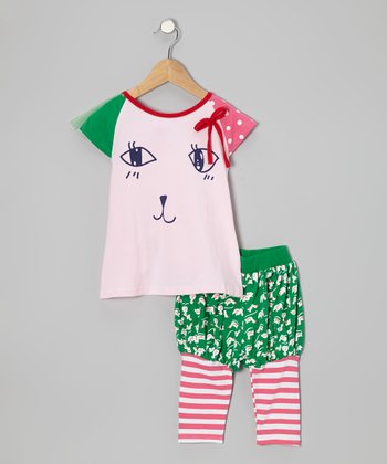 Pink Cat Face Top & Stripe Leggings - Girls