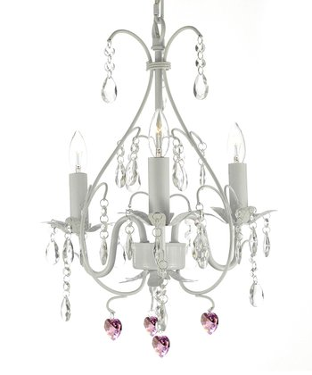 White Gallery Wrought Iron & Crystal Chandelier