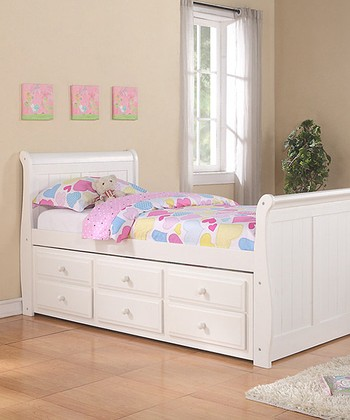 White Sleigh Captains Twin Trundle Bed