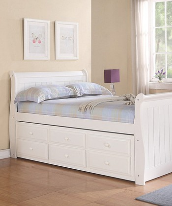 White Sleigh Captains Full Trundle Bed
