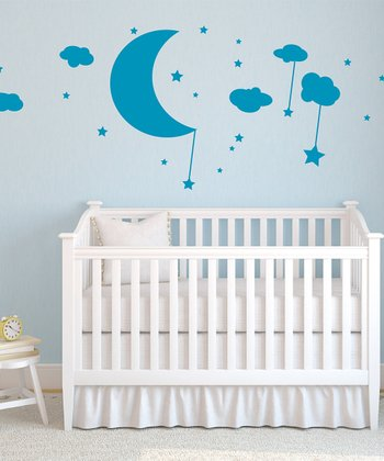 Teal Moon, Clouds & Stars Wall Decal Set