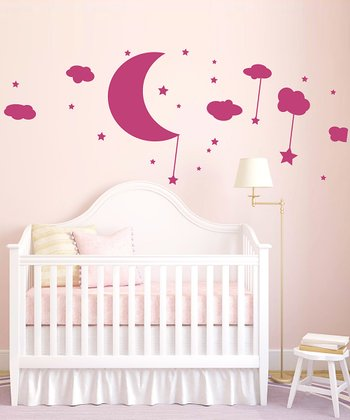 Pink Moon, Clouds & Stars Wall Decal Set
