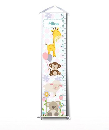 Pink Happy Animal Personalized Growth Chart