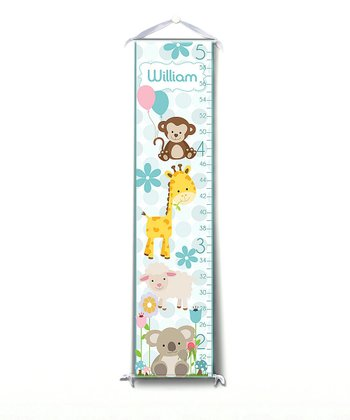 Blue Happy Animal Personalized Growth Chart