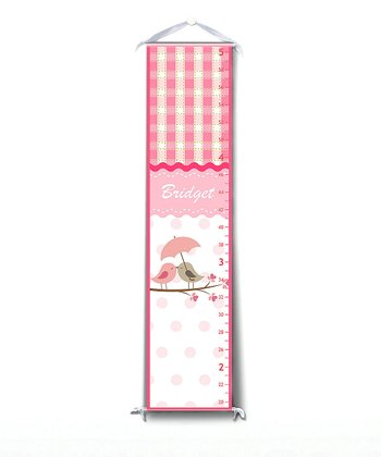 Pink Pretty Bird Personalized Growth Chart
