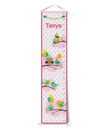 Pink Bird Party Personalized Growth Chart