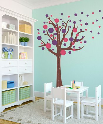 Polka Dots & Tree Growth Chart Wall Decal Set