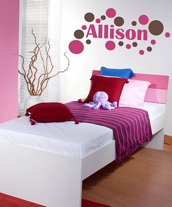 Pink & Brown Modern Dot Personalized Wall Decal Set