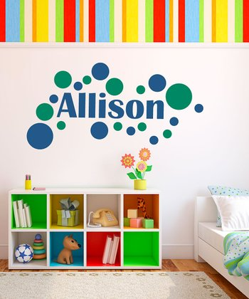 Gentian & Green Modern Dot Personalized Wall Decal Set